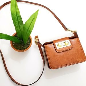 Victor Alfaro Leather Mini Box Crossbody Bag